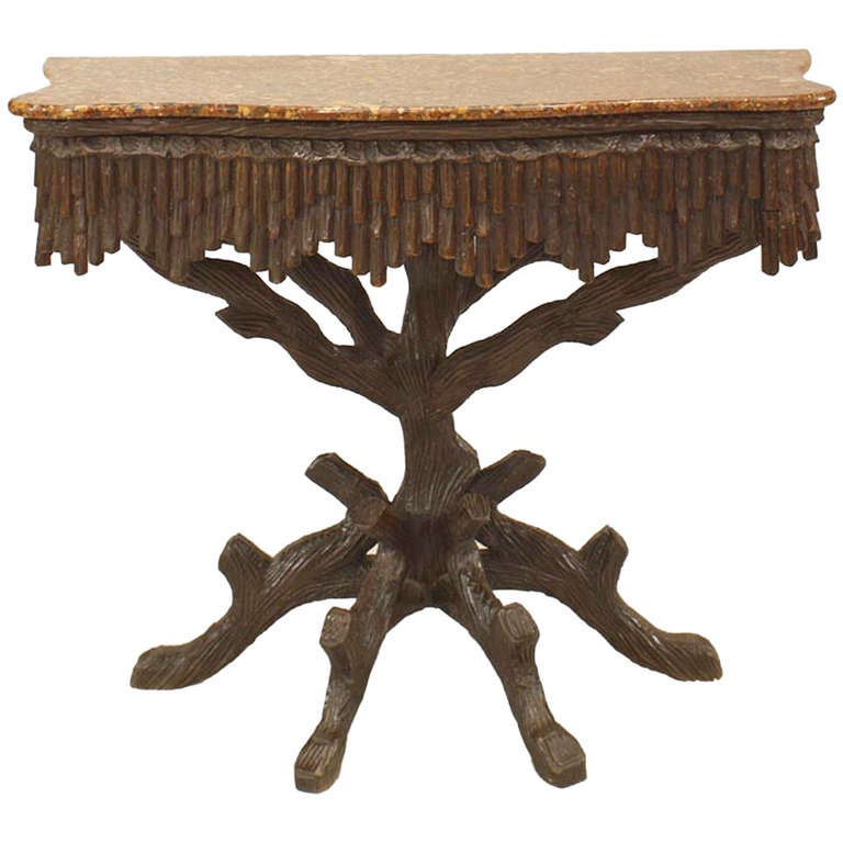 19th C. Rustic Black Forest Marble Top Console Table At