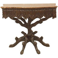 19th c. Rustic Black Forest Marble Top Console Table