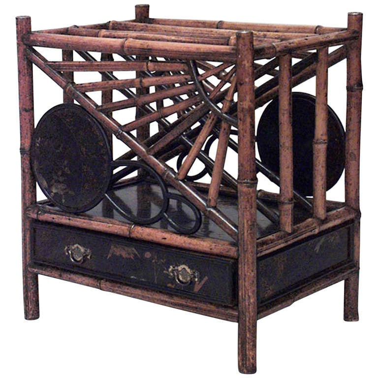 English Chinoiserie Bamboo Magazine Rack