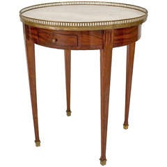 French Louis XVI Style Carrara Marble and Mahogany End Table