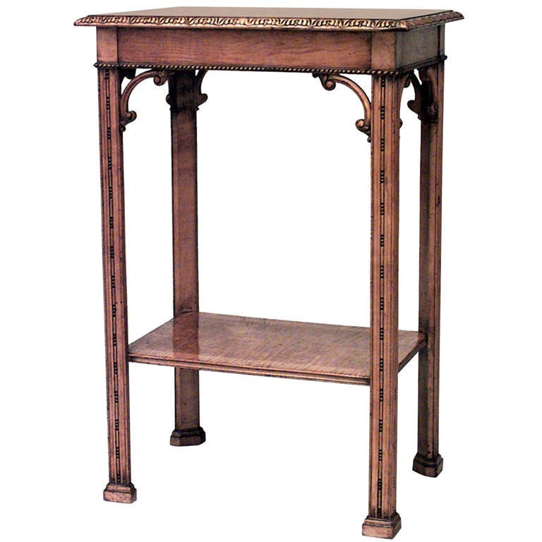 19th c. Chinese Chippendale Satinwood End Table