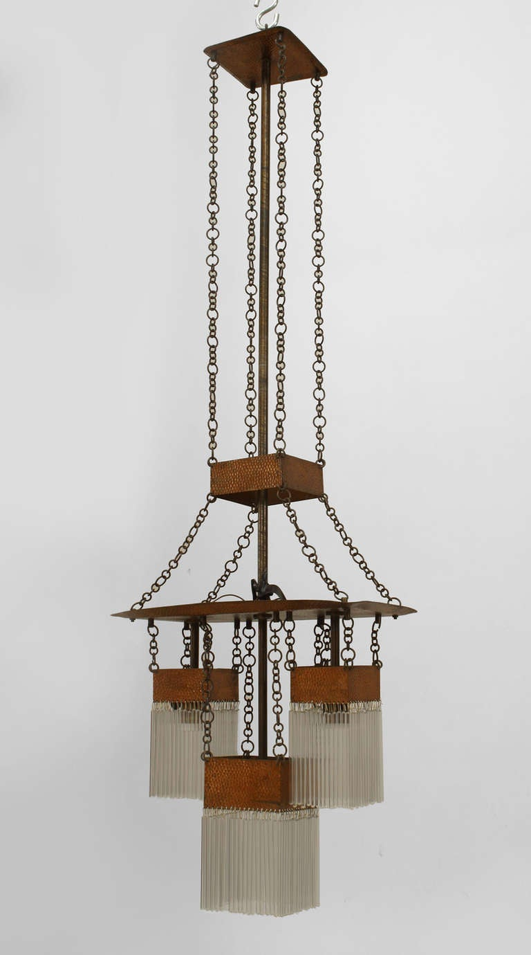 austrian secessionist copper and glass chandelier at 1stdibs