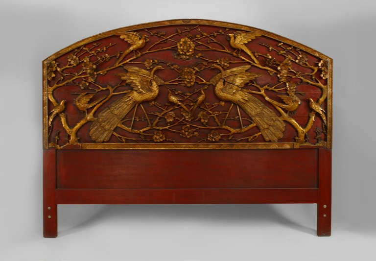 Antique Bed: 19th C. Chinese Red And Gilt Lacquered King Sized