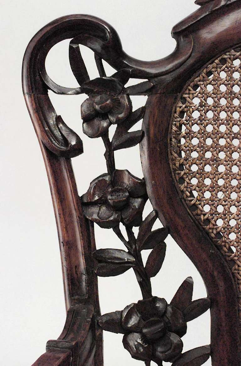 20th Century French Art Nouveau Walnut Armchair with Cushion For Sale