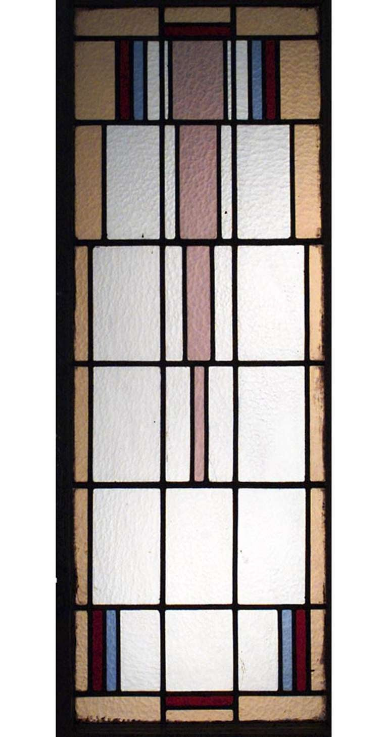 Pair of Stained Glass and Stripped Wood American Mission Doors In Good Condition For Sale In New York, NY