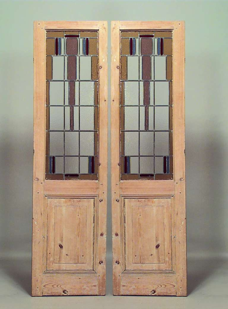 Pair Of Stained Glass And Stripped Wood American Mission Doors For