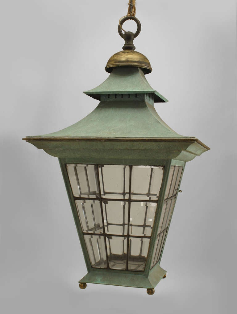 English Georgian Style Copper Hanging Lantern For Sale at 1stdibs