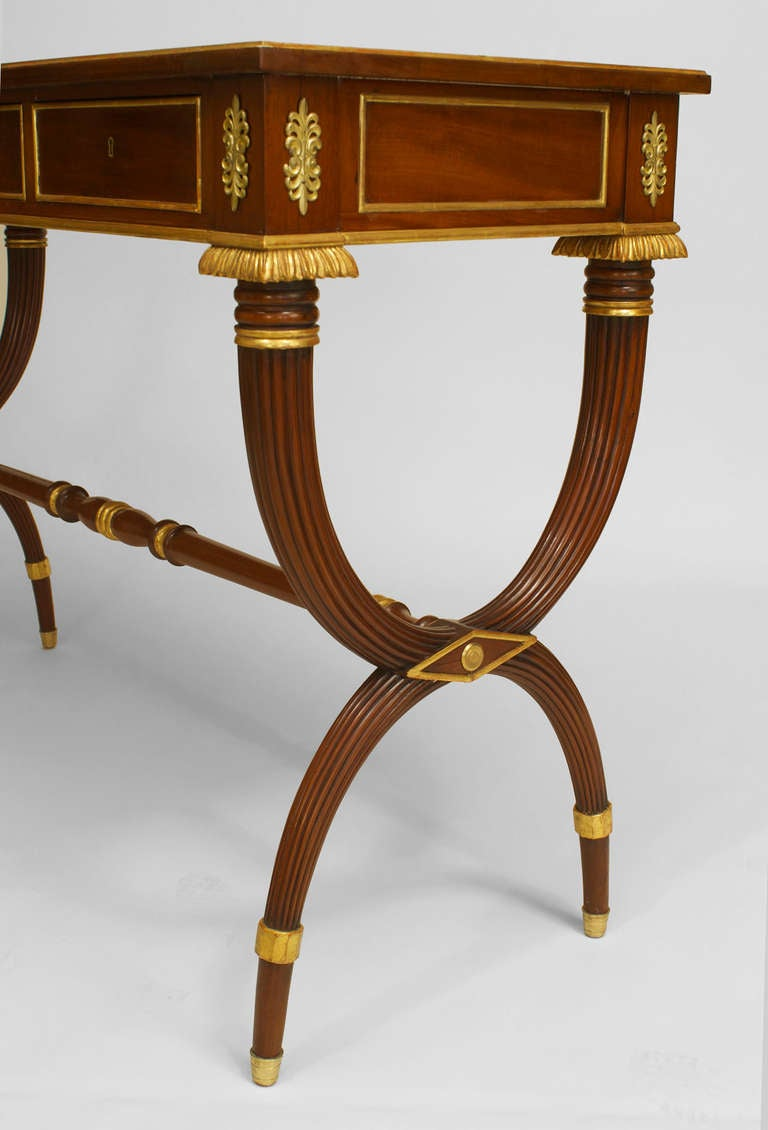 Pair Of English Regency Gilt And Bronze Trimmed Mahogany Consoles For Sale At 1stdibs