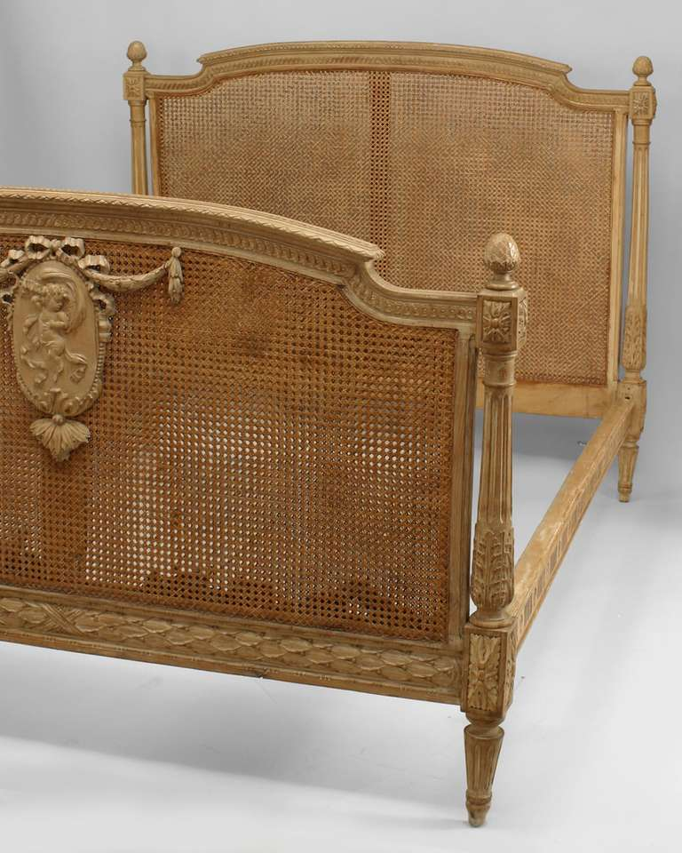 french louis xvi style cane and stripped wood full sized bed for sale at 1stdibs. Black Bedroom Furniture Sets. Home Design Ideas