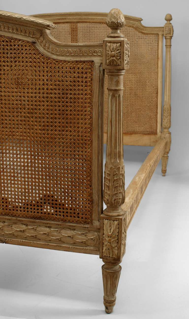 French Louis Xvi Style Cane And Stripped Wood Full Sized