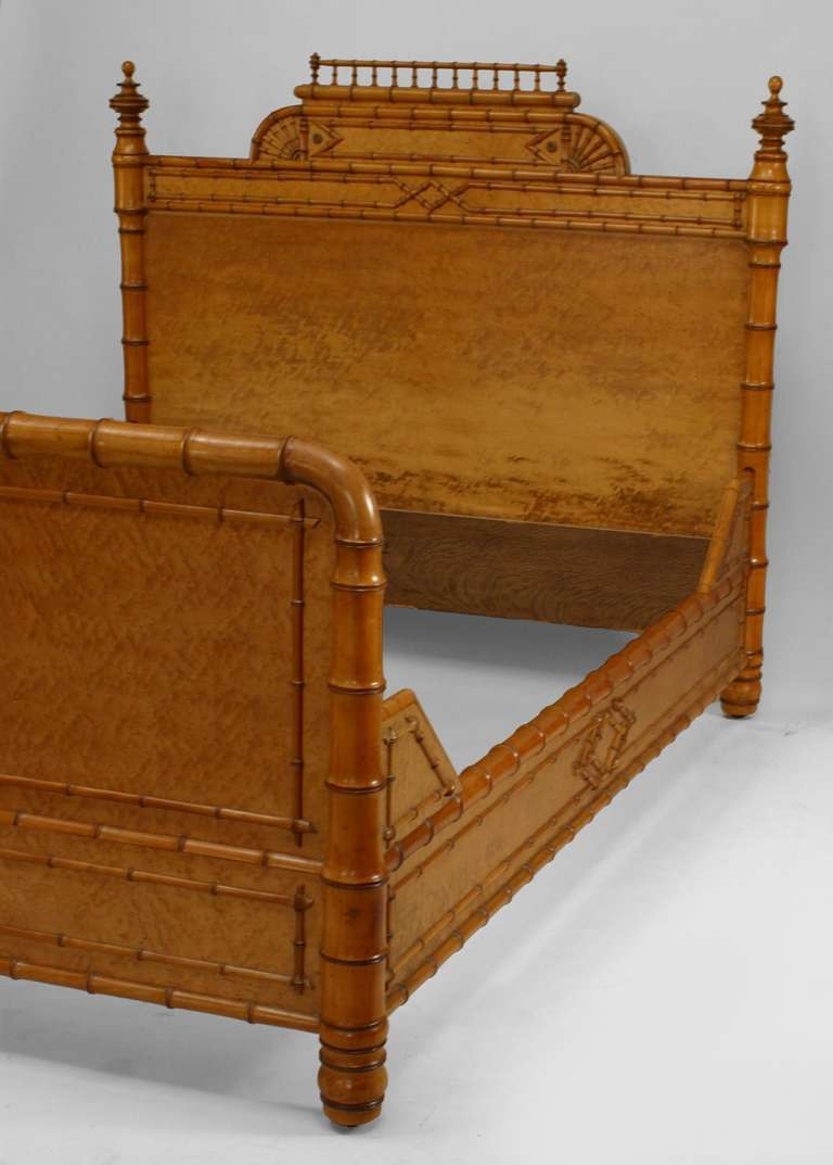 English Victorian Bird's Eye Maple Faux Bamboo Full Sized Bed For Sale