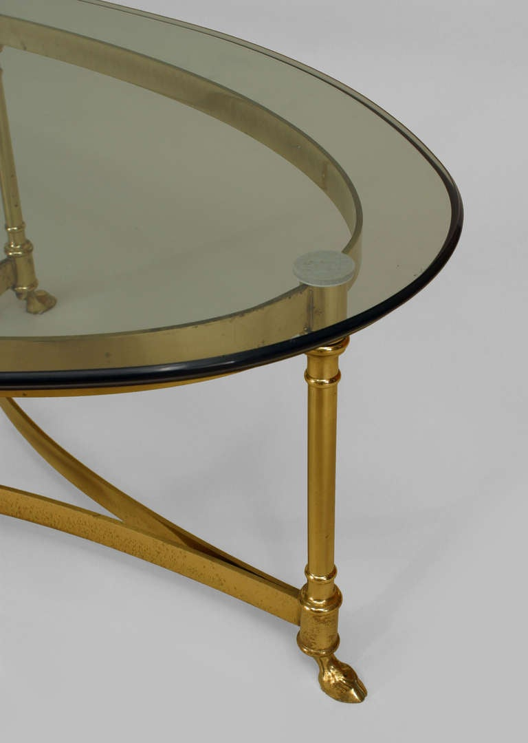 French Mid Century Oval Glass Top Coffee Table At 1stdibs