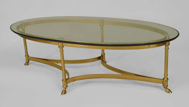 French Mid Century Oval Glass Top Coffee Table For Sale At 1stdibs