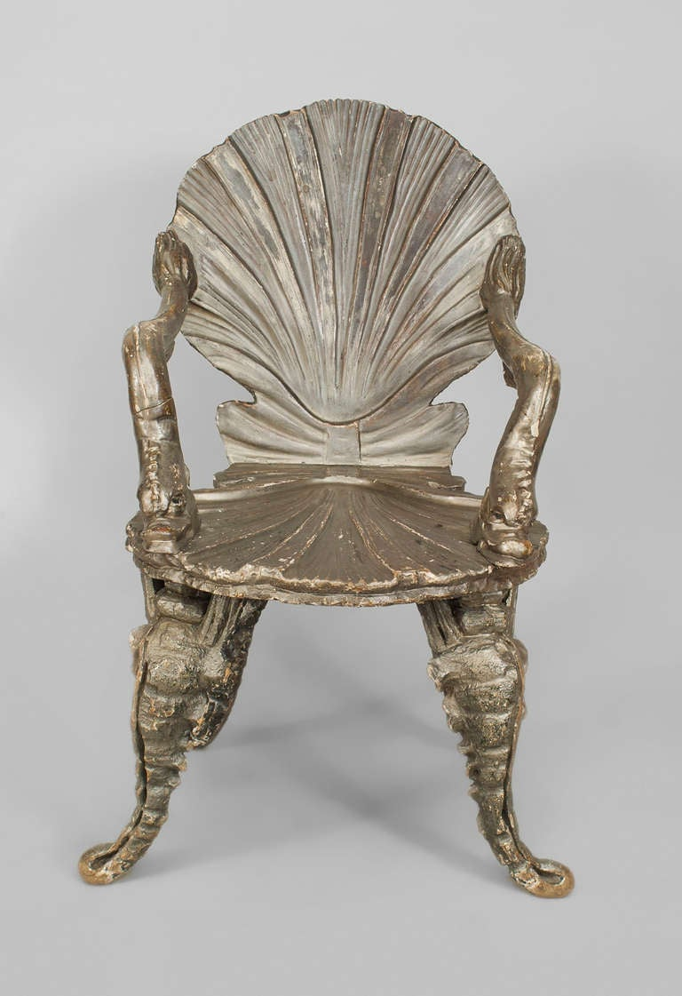 19th C Silver Gilt Venetian Grotto Armchair For Sale At
