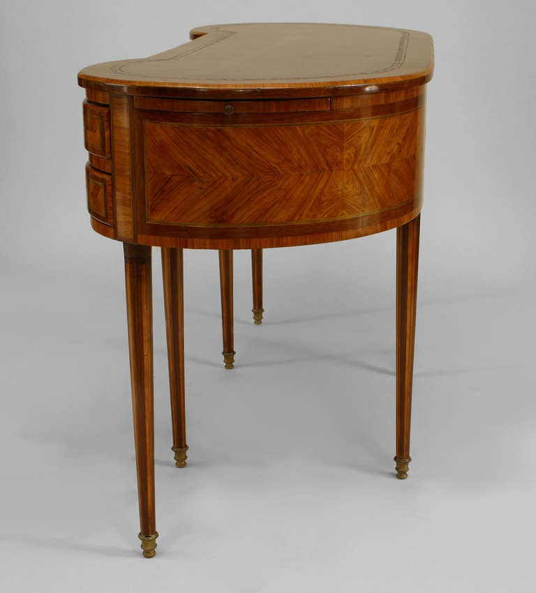 19th c french louis xvi style kidney shaped satinwood for Kidney desk for sale