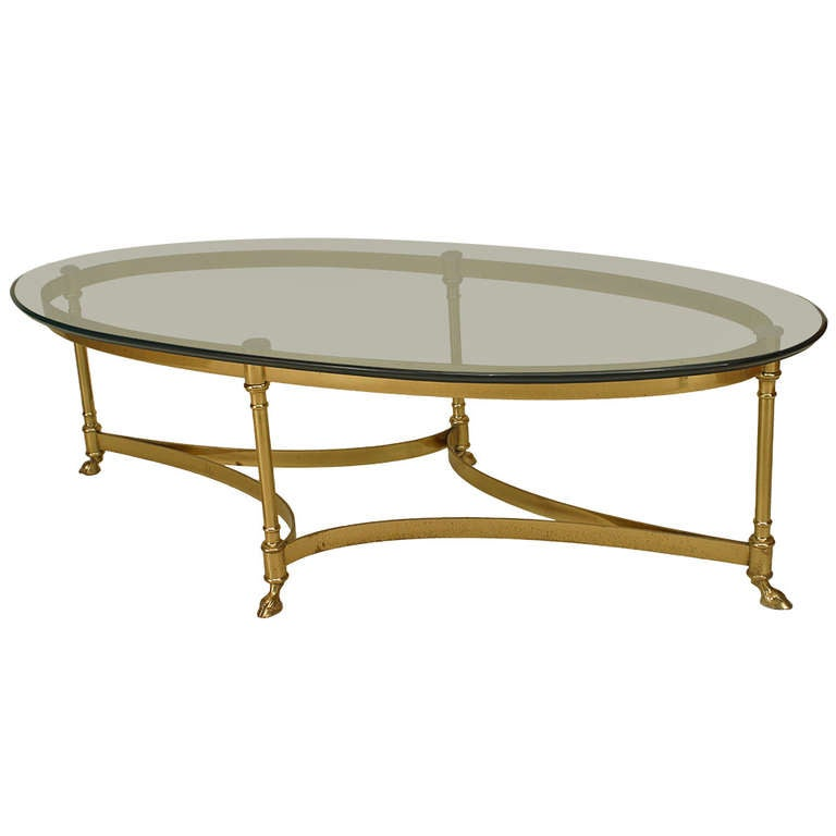 French Mid-Century Oval Glass Top Coffee Table For Sale At