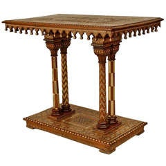 Mid-19th c. Moorish Style Inlaid Walnut Console Table