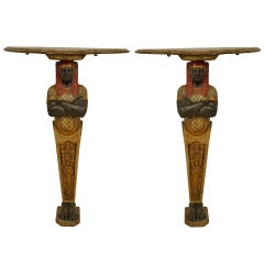 Pair of 19th c. English Egyptian Revival Console Tables