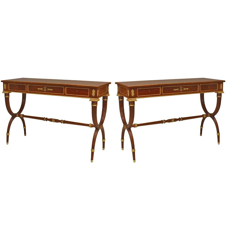 Pair of English Regency Mahogany Console Tables