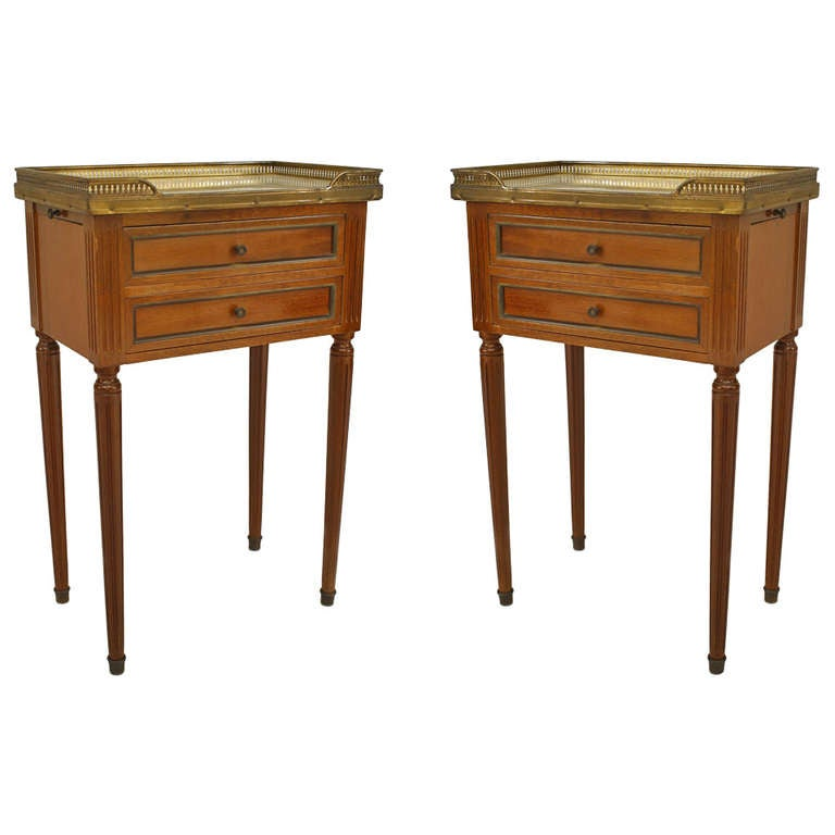 pair of louis xvi style brass trimmed marble top end tables for sale at 1stdibs. Black Bedroom Furniture Sets. Home Design Ideas