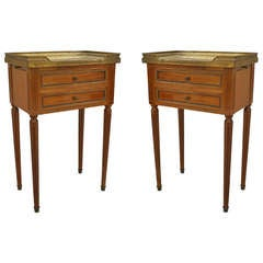 Pair of Louis XVI Style Brass Trimmed Marble Top End Tables