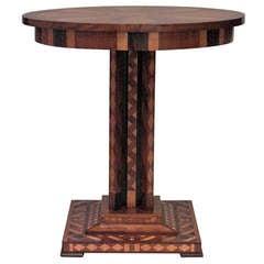 19th c. Biedermeier Inlaid Mahogany Center Table