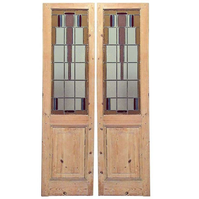 Pair of Stained Glass and Stripped Wood American Mission Doors