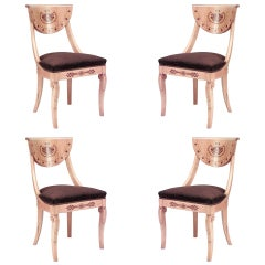 Set of 4 Charles X Style Inlaid Maple Side Chairs