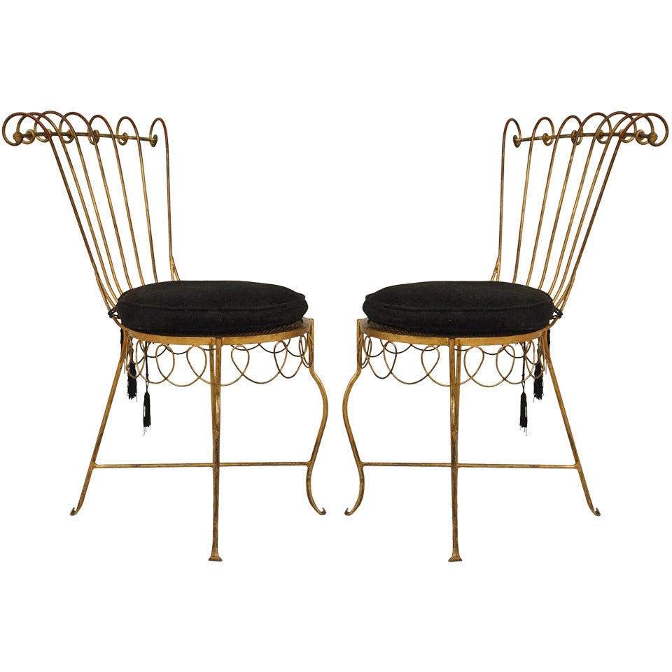 Pair of French Gilt Metal Side Chairs