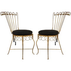 Pair of 1940's Gilt Metal Side Chairs with Black Velvet Cushions