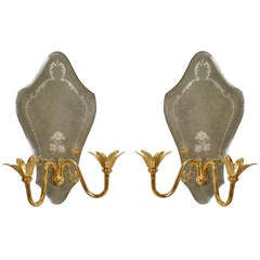 Pair of Floral Brass and Murano Glass Wall Sconces