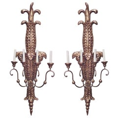 Pair of Italian Neoclassic Gilt Carved Palm Design Sconces