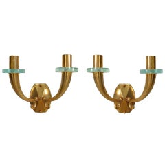 Pair of 1940's French Bronze U-Shaped Sconces