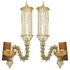 Pair of 1920's Pauli Style Textured Murano Glass Sconces
