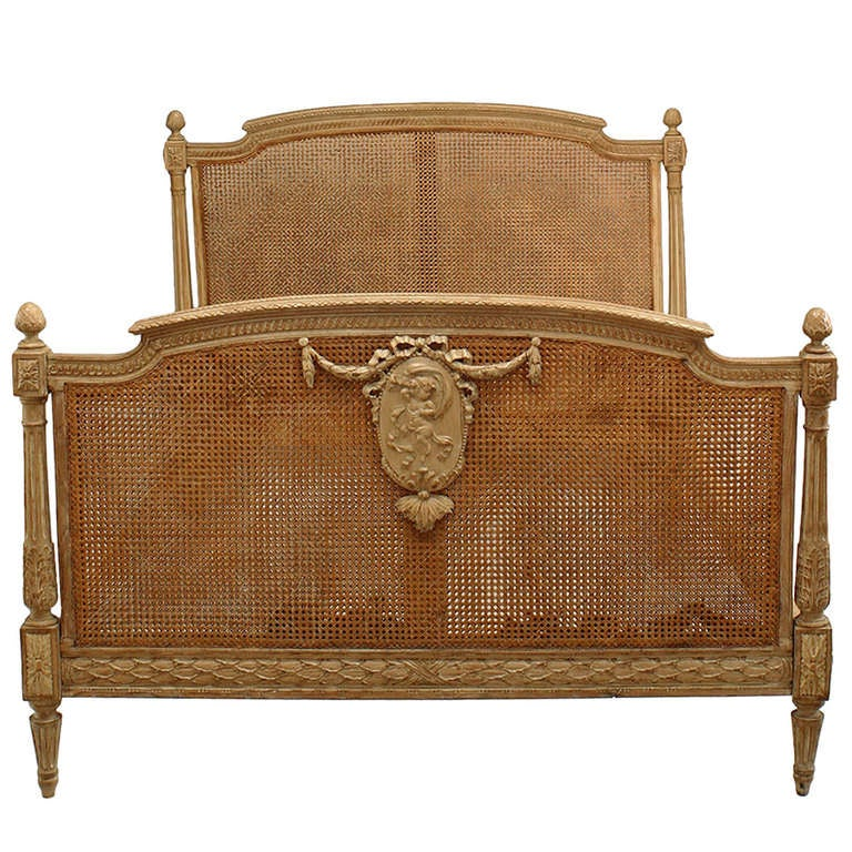 French Louis XVI Style Cane and Stripped Wood Full Sized Bed