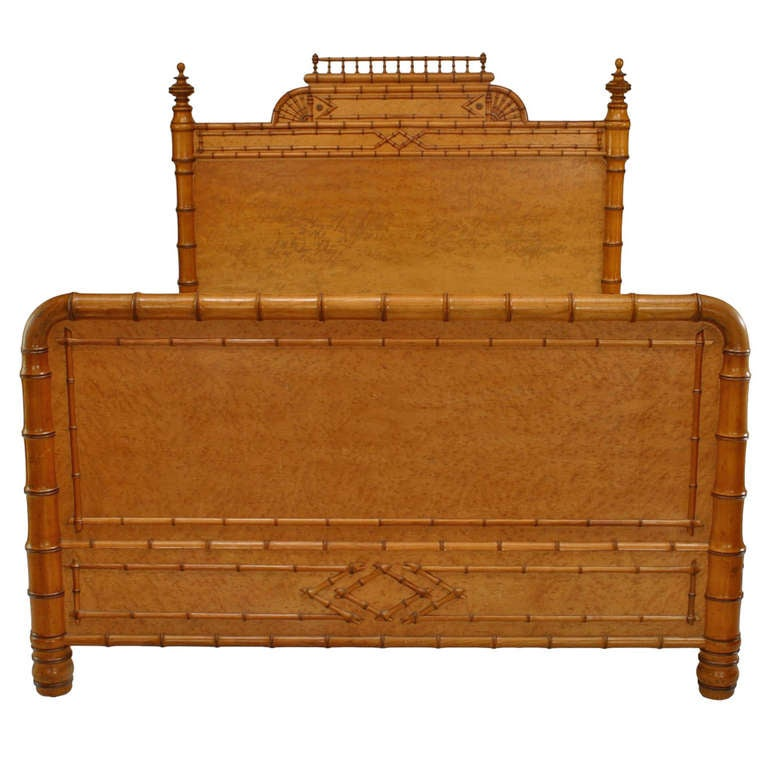 Victorian Bird's Eye Maple Faux Bamboo Full Sized Bed For Sale