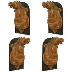 19th c. French Provincial Carved Horse Head Plaques