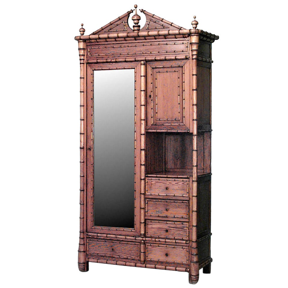 French Victorian Faux Bamboo Armoire