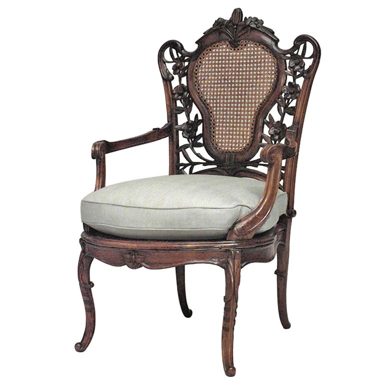 French Art Nouveau Walnut Armchair with Cushion For Sale