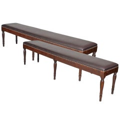 Pair of Italian Neoclassic Leather Upholstered Walnut Benches