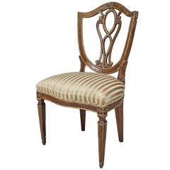 19th c. Italian Gilt Trimmed Neoclassic Side Chair