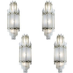 French 1931 Art Deco Glass & Bronze Ballroom Chandeliers