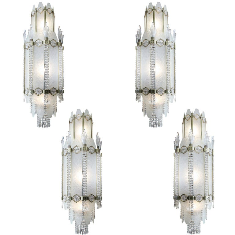 4 Important French Art Deco Glass & Bronze Ballroom Chandeliers