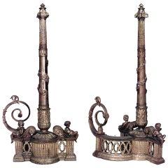 Pair of 19th c. Louis XVI Style Bronze Dore Andirons