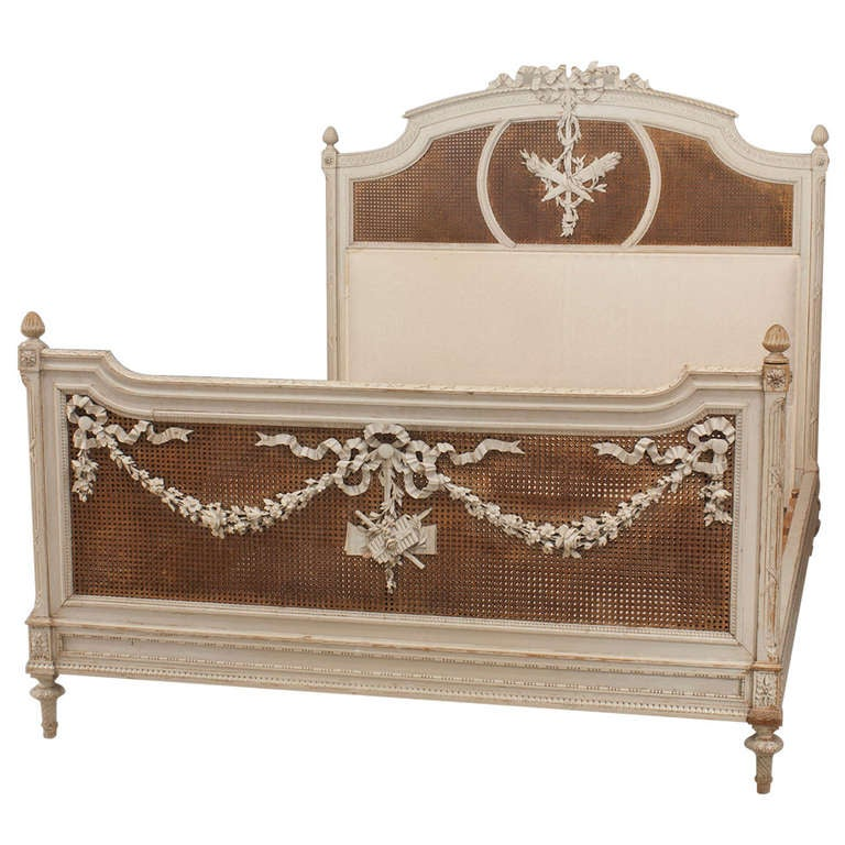 Modern bed side view - French Louis Xvi Style Carved Queen Sized Bed With Caning At 1stdibs