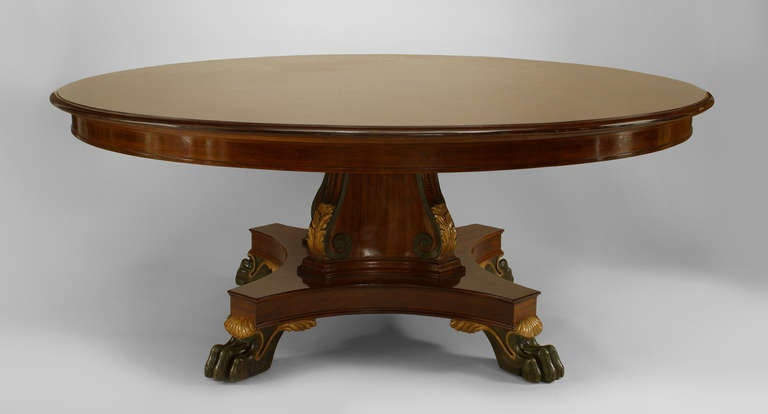 Large English Regency Style Gilt Trimmed Mahogany Dining Table For
