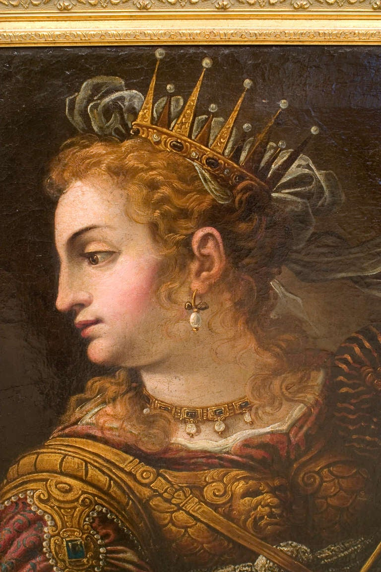 Painted in the manner of the seventeenth century Italian artist Paolo Veronese, this Italian Renaissance oil painting titled