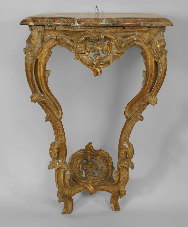 Italian Rococo Gilt Trimmed Bracket Console Table With Marble Top 2
