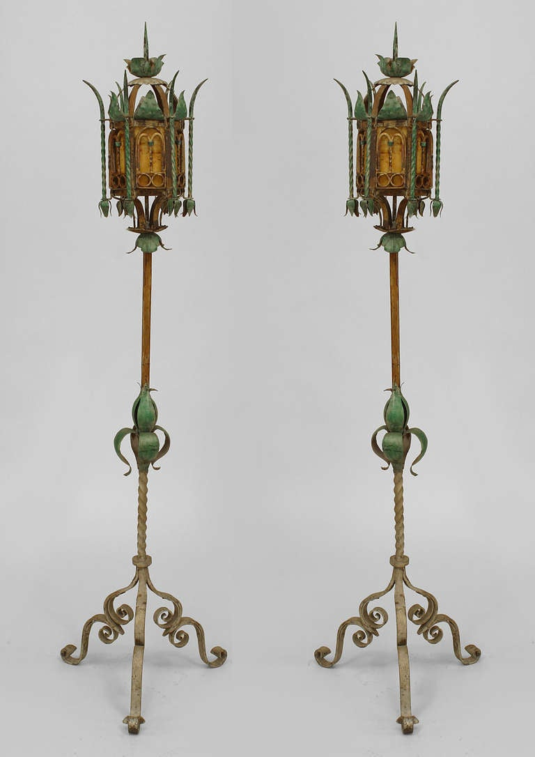 Pair Of Turn Of The Century Venetian Style Floor Lamps For