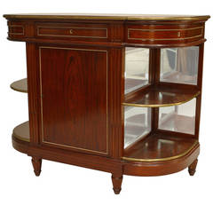 19th Century French Louis XVI Style Brass-Trimmed Mahogany Server Cabinet